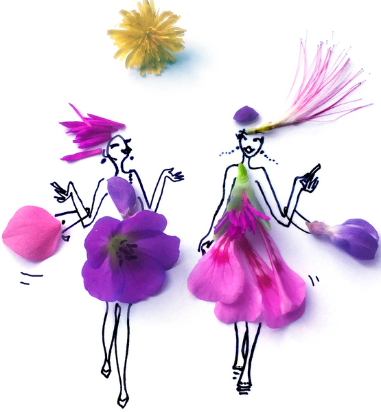 Two Ladies walking and wearing lavender