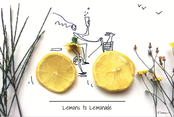 Illustration of bike with wheels made of lemons