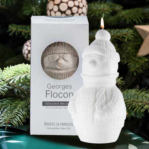 Holiday white snowman candle gift.