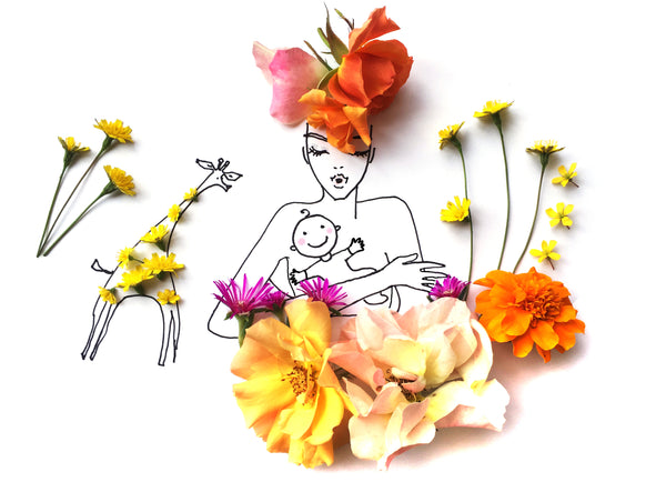 Flower illustration of mother and child with flowers