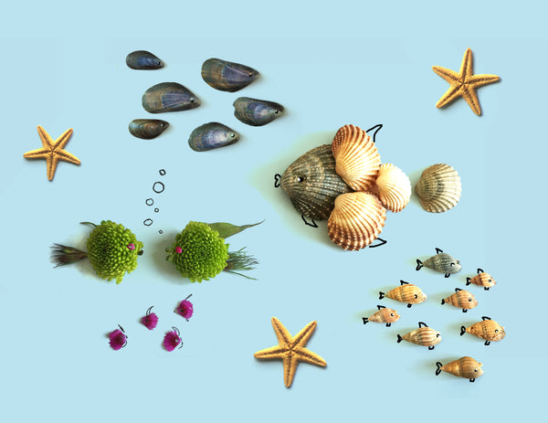 Sea Life illustration of shell fish in the ocean