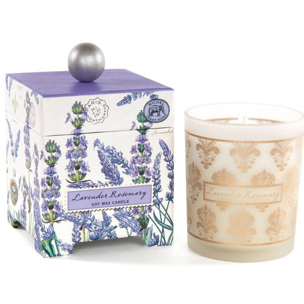 Lavender candle in a decorative box