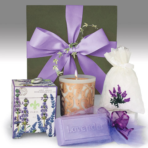 Lavender Gift set in a green box with a pure ribbon, a lavender candle, lavender soap and a lavender sachet. Gift for women.