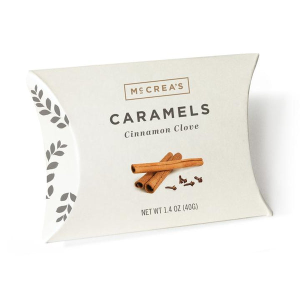 Cinnamon bark and whole cloves steeped in hot cream will keep you warm all season. McCrea's Caramel candies
