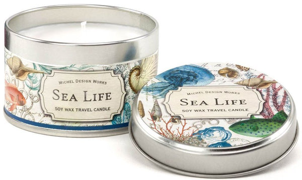 Sea air travel candle tin from Michel Design illustrated, 20 hr