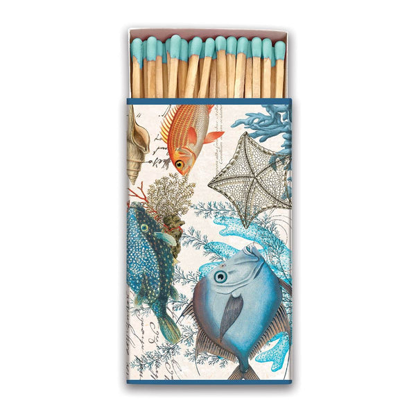 Sea Life matches, 50 long matches with blue tips in illustrated box