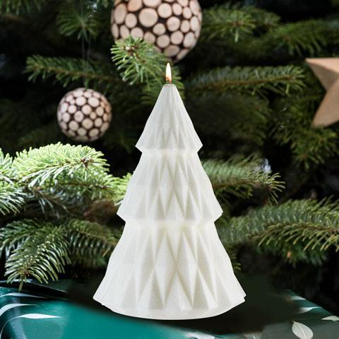 White holiday tree candle
