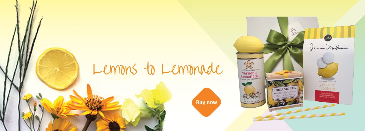 Lemons to Lemonade Gift Box includes cookies, lemonade and lemon tea