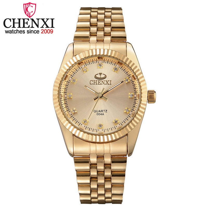 CHENXI Men Gold Watch Male Stainless Steel Quartz Golden men's Wristwatches for Man Top Brand Luxury Quartz-Watches Gift Clock