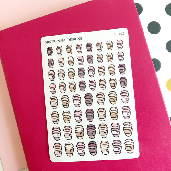 Coffee Cup Doodle Icon Planner Stickers | Mistrunner Designs