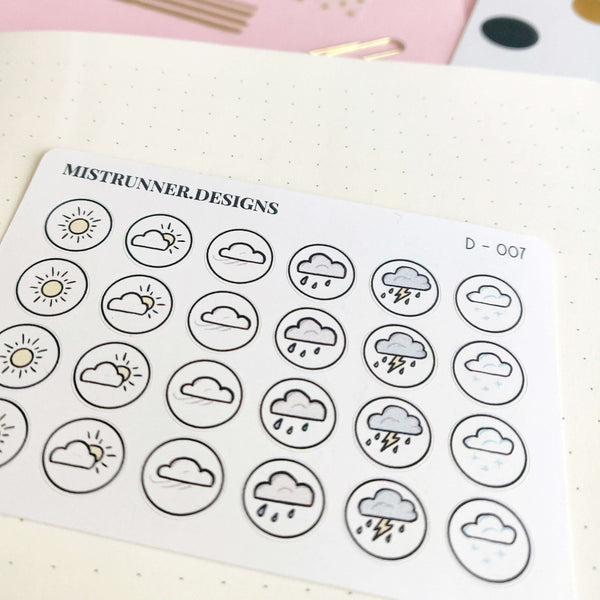 Weather Doodle Icon Planner Stickers | Mistrunner Designs