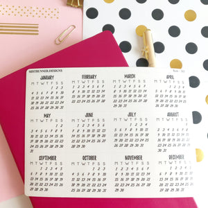 Foiled Bullet Journal Calendar 2021 Planner Stickers | Mistrunner Designs