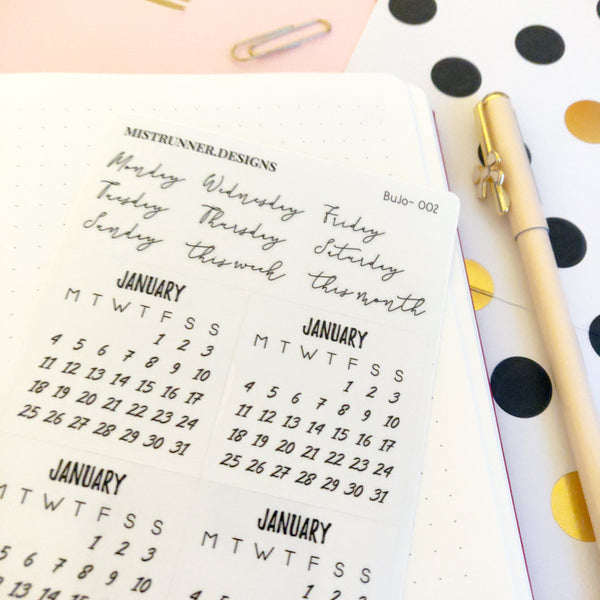 Bullet Journal Monthly 2021 Calendar Planner Stickers | Mistrunner Designs