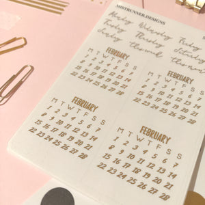 Foiled Bullet Journal Monthly 2021 Calendar Planner Stickers | Mistrunner Designs