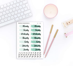 Green Date Cover Planner Stickers | Mistrunner Designs