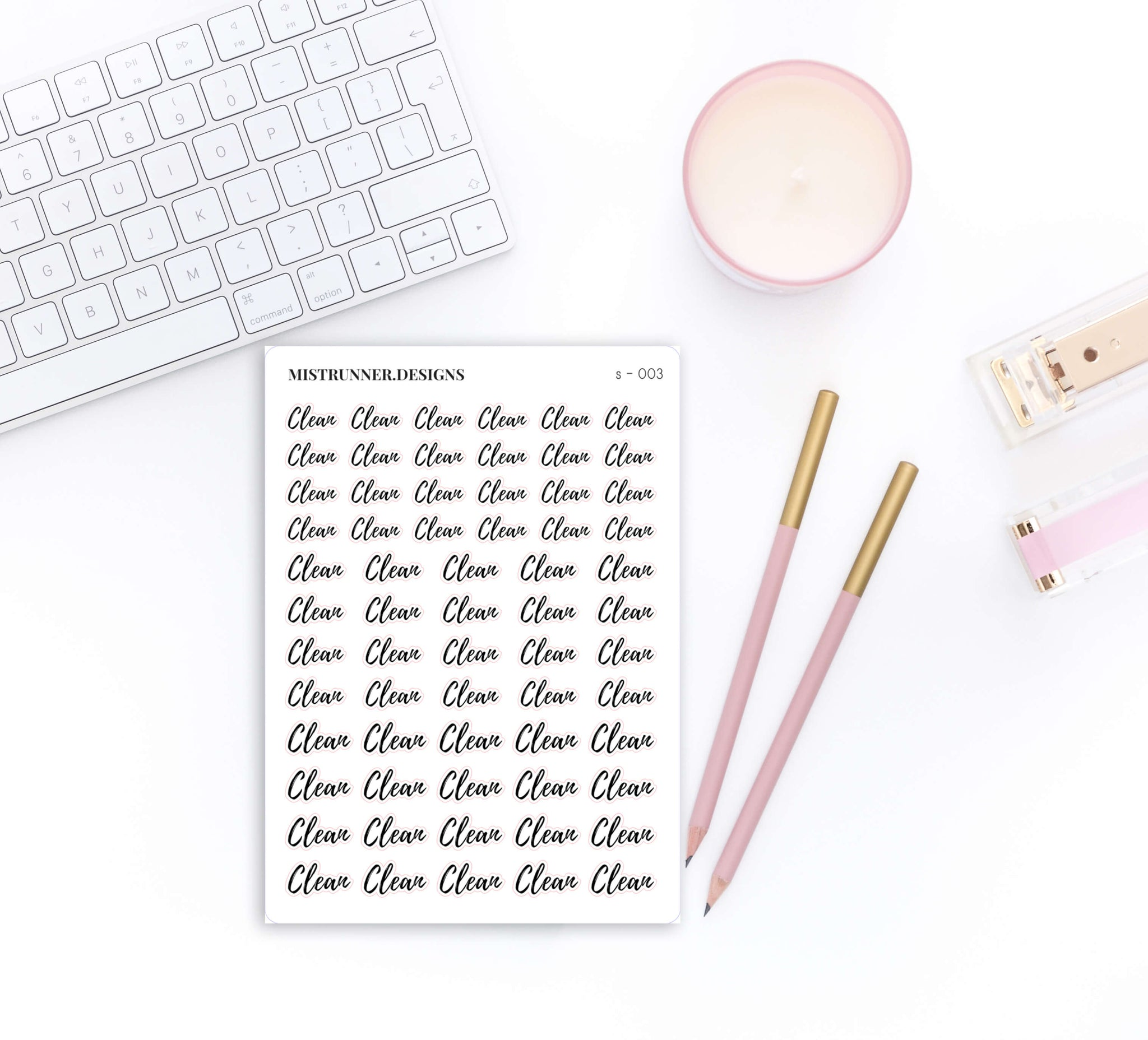 Clean Elegant Script Word Planner Stickers | Mistrunner Designs