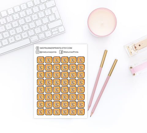 Orange Etsy Decorative Icon Planner Stickers - Mistrunner Prints