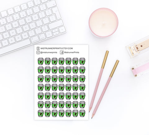 Green Coffee Cup Decorative Icon Planner Stickers - Mistrunner Prints