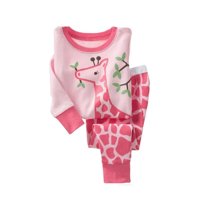 Pink Giraffe Sleepwear Kids Pajamas Set