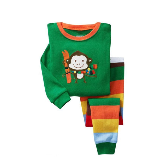 Waving Monkey Sleepwear Kids Pajamas Set