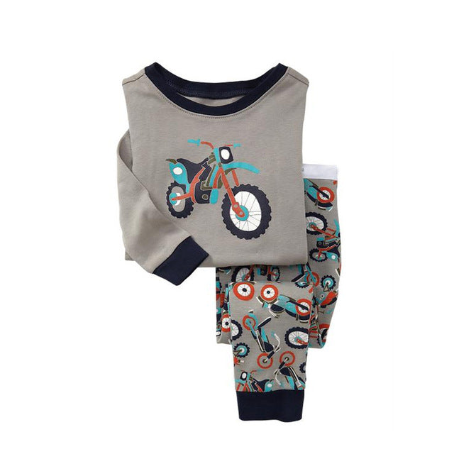 Bike Print Sleepwear Kids Pajamas Set