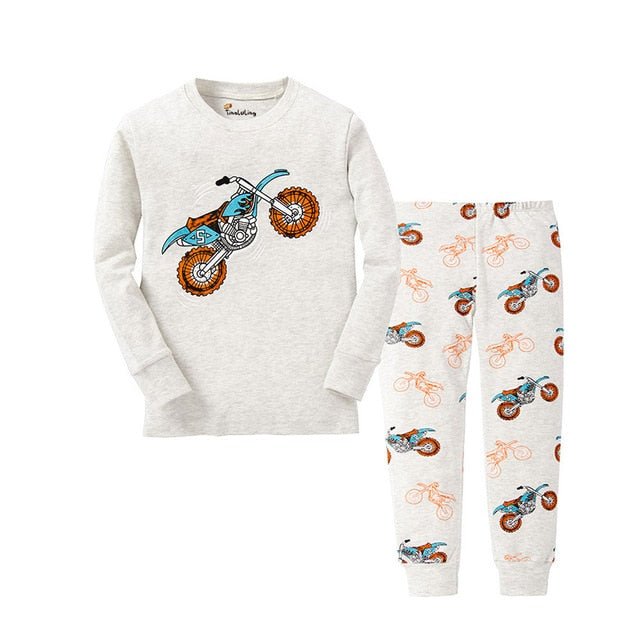 Bikes Print Sleepwear Kids Pajamas Set