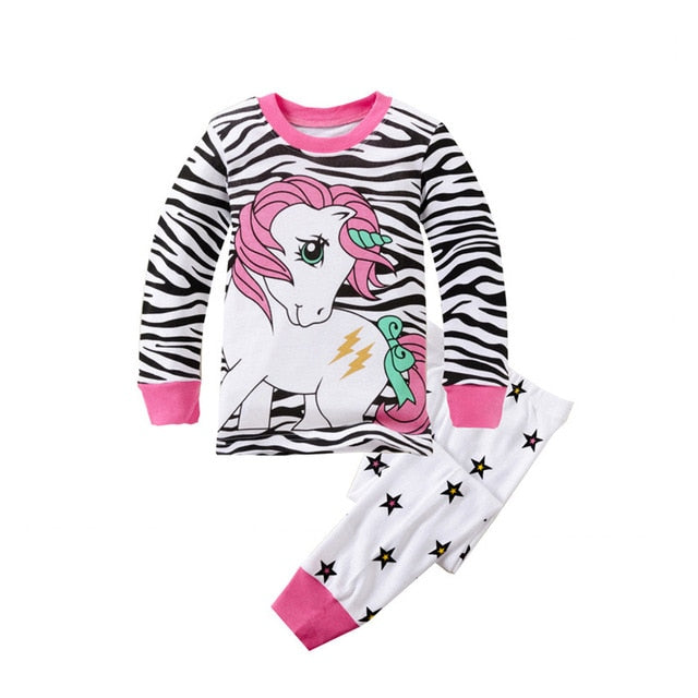 Unicorn Print Sleepwear Kids Pajamas Set