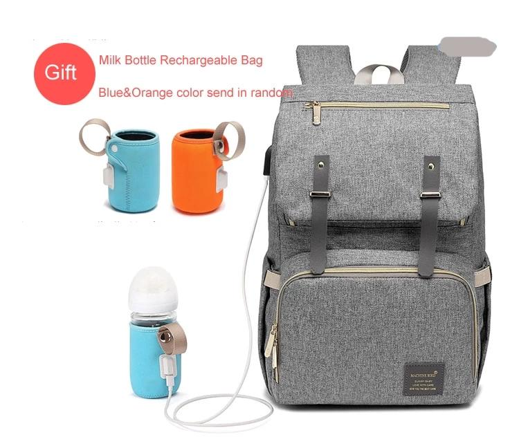 New Waterproof USB Charger Diaper Bag with Rechargeable Holder for Bottle