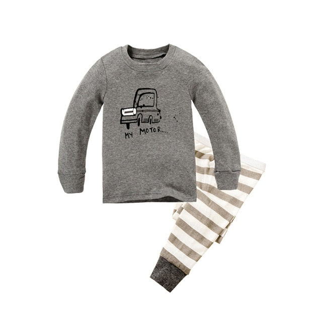 Gray Car Sleepwear Kids Pajamas Set