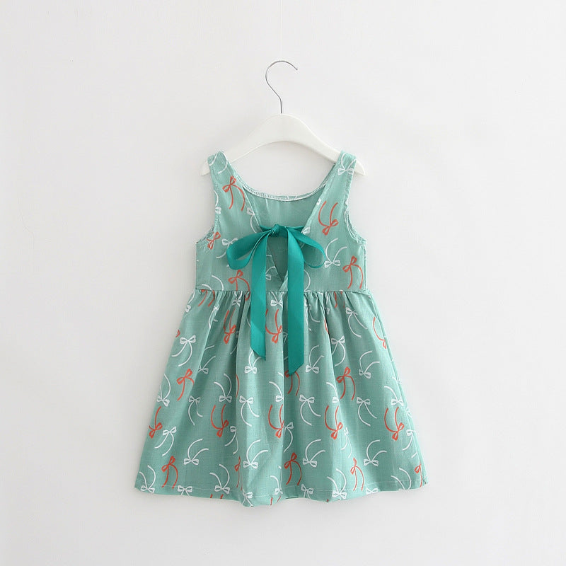 Elegant Ribbons Print Girls Cotton Dress - Baby Alex