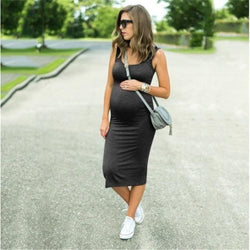 Smart Casual Solid Black Sleeveless Pregnancy Dress = BabyAlex, Afterpay Available, Toddler Clothes, Diaper Bag, Designer Diaper Bag, Diaper Bag Backpack, Baby Shop Australia, Alex Collections, Baby Clothe Australia