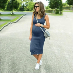 Smart Casual Solid Sleeveless Pregnancy Dress - Navy Blue = BabyAlex, Afterpay Available, Toddler Clothes, Diaper Bag, Designer Diaper Bag, Diaper Bag Backpack, Baby Shop Australia, Alex Collections, Baby Clothe Australia