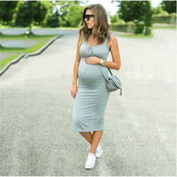 Smart Casual Solid Sleeveless Pregnancy Dress - Grey = BabyAlex, Afterpay Available, Toddler Clothes, Diaper Bag, Designer Diaper Bag, Diaper Bag Backpack, Baby Shop Australia, Alex Collections, Baby Clothe Australia