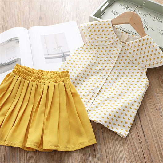 Heart Printed Top With Mustard Skirt Set = BabyAlex, Afterpay Available, Toddler Clothes, Diaper Bag, Designer Diaper Bag, Diaper Bag Backpack, Baby Shop Australia, Alex Collections, Baby Clothe Australia
