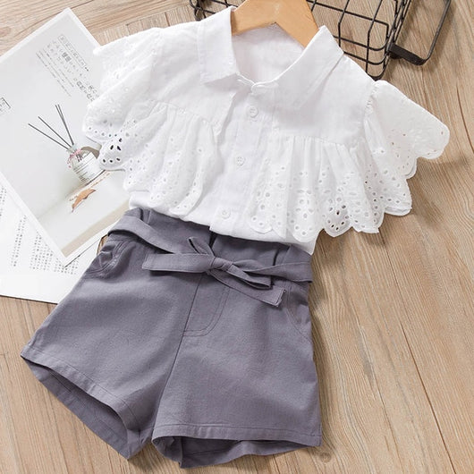 White Frill Top With Gray Short = BabyAlex, Afterpay Available, Toddler Clothes, Diaper Bag, Designer Diaper Bag, Diaper Bag Backpack, Baby Shop Australia, Alex Collections, Baby Clothe Australia
