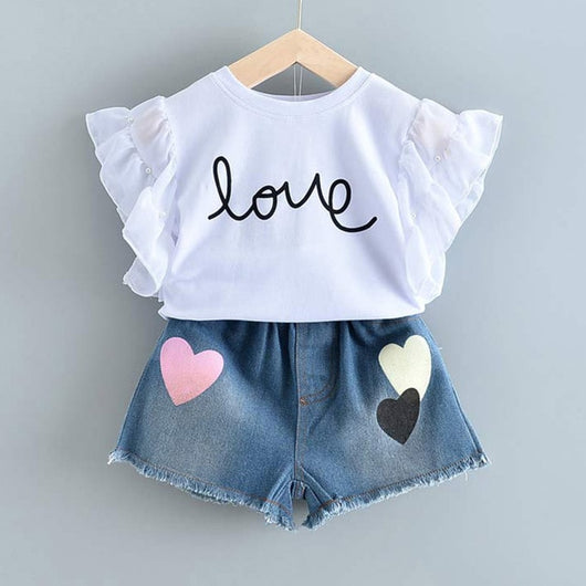 White Top And Denim Short = BabyAlex, Afterpay Available, Toddler Clothes, Diaper Bag, Designer Diaper Bag, Diaper Bag Backpack, Baby Shop Australia, Alex Collections, Baby Clothe Australia