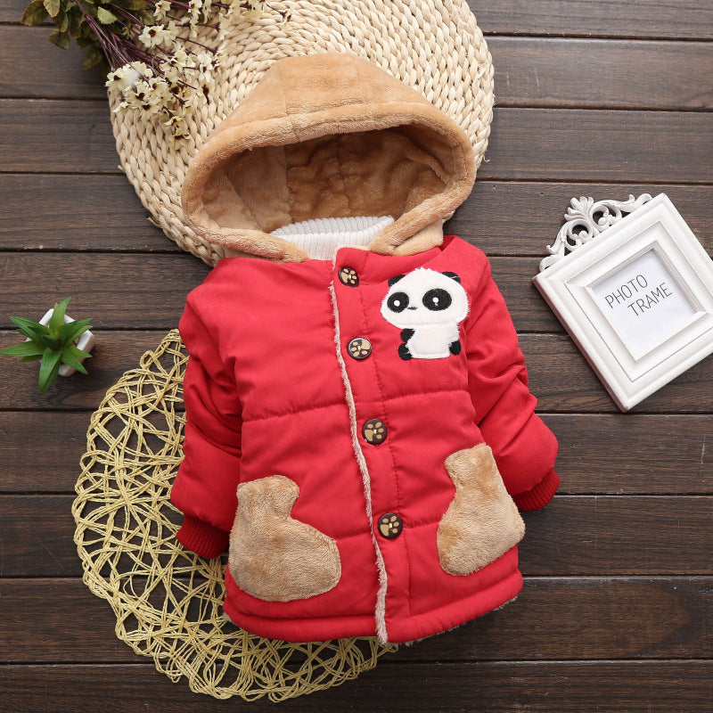 Panda Red Girls and Boys Warm Outerwear Hooded Winter Jacket - Baby Alex, baby clothes, baby shoes, diaper bag, Maternity clothes