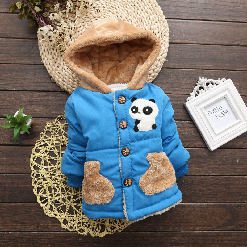 Panda Blue Girls and Boys Warm Outerwear Hooded Winter Jacket - Baby Alex