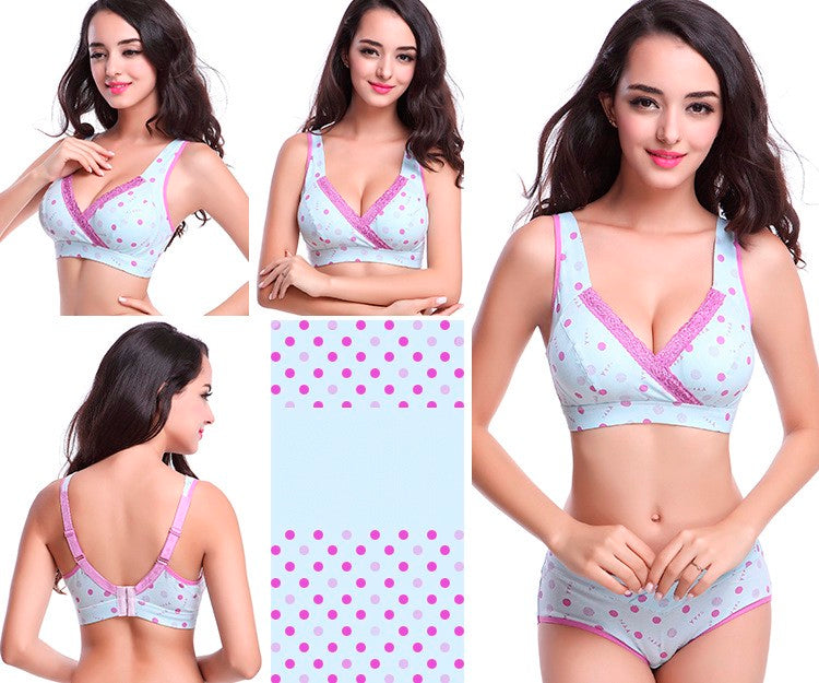Maternity & Nursing Bra Cotton With Underwear Set Wire Free - Baby Alex