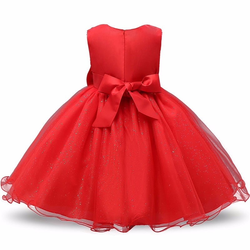 Stunning Red Fairy Floral Sleeveless Princess Dress - Baby Alex