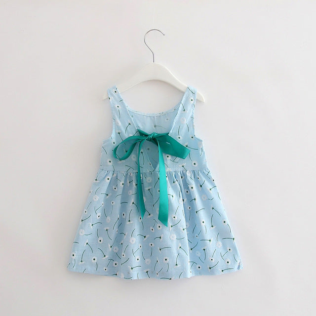Sweet Blue Girls Cotton Dress with Back Ribbon - Baby Alex