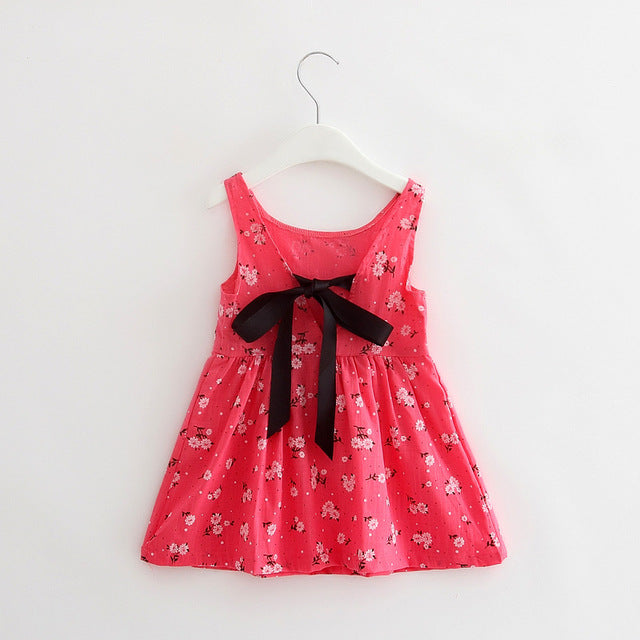 Charming Rose Pink Floral Cotton Sleeveless Dress for Girls - Baby Alex, baby clothes, baby shoes, diaper bag, Maternity clothes