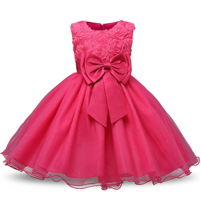 Beautiful Hot Pink Fairy Floral Sleeveless Princess Dress - Baby Alex