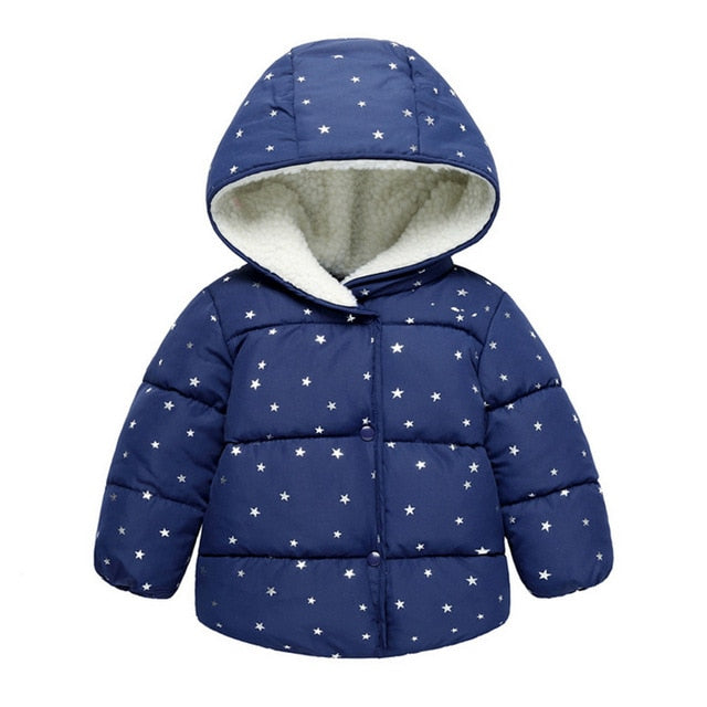 Cute Blue Baby Girls Winter Hooded Jacket - Baby Alex