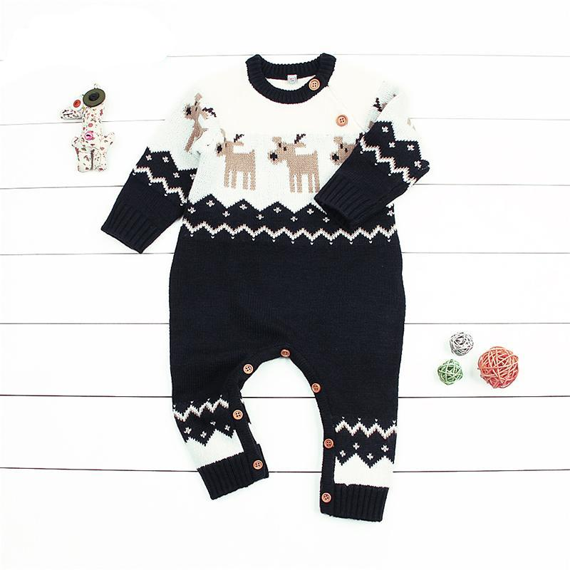 Newborn Baby Romper Christmas Clothes Knitted Sweater Reindeer Outfit - Baby Alex
