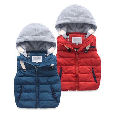 Multi Blue Girls and Boys Warm Outerwear Hooded Winter Jacket