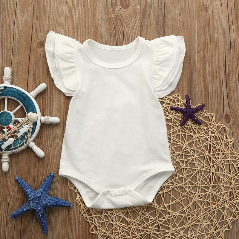 Newborn Infant Baby Girls Ruffles Sleeve Romper Playsuit Clothes Outfits Clothes - Baby Alex