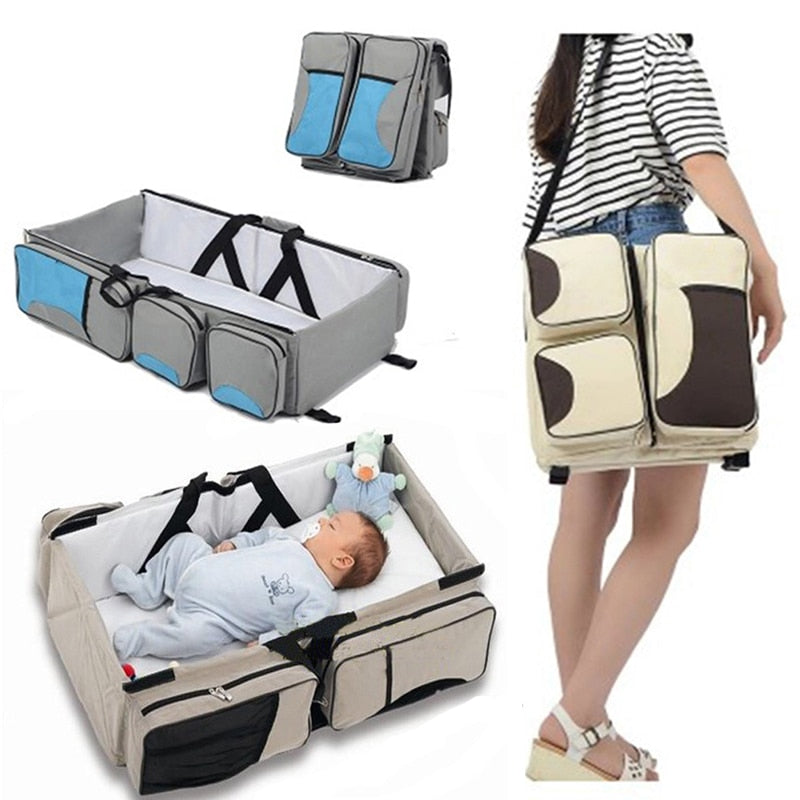 3 in 1 Multi Purpose Diaper Bag Baby Portable Travel Bassinet - Baby Alex