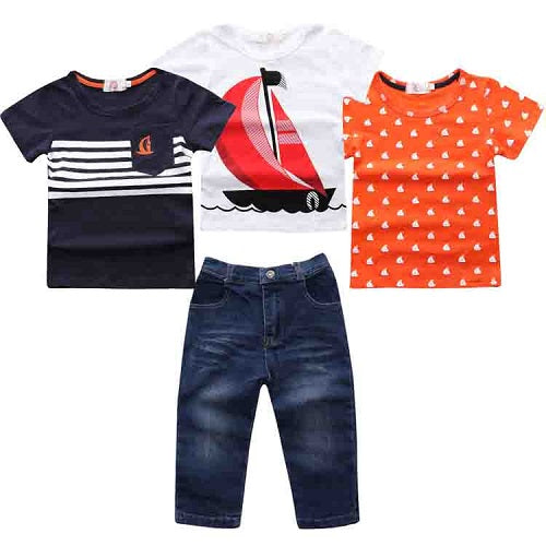 Kids Summer Tshirt and Denim 4pcs Set - Baby Alex