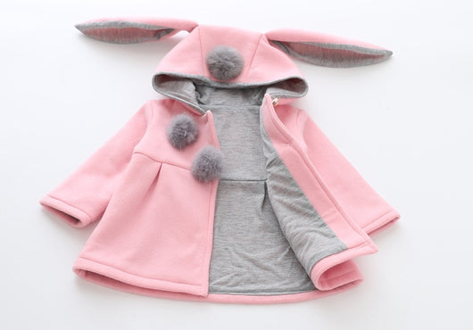 Cute Rabbit Ears Hooded Long-sleeve Coat outerwear winter Jacket for Baby Girls = BabyAlex, Afterpay Available, Toddler Clothes, Diaper Bag, Designer Diaper Bag, Diaper Bag Backpack, Baby Shop Australia, Alex Collections, Baby Clothe Australia